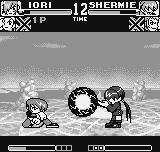 King of Fighters R-1 Neo Geo Pocket Orochi Shermie, in a smooching performance, does her Mu Getsu no Raigumo in a blocking-ducking Iori.