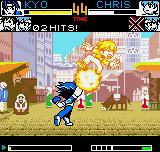 King of Fighters R-2 Neo Geo Pocket Color During his move 212 Shiki: Kototsuki You, Kyo grabs Chris and lifts him, causing a small explosion.