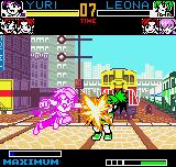 King of Fighters R-2 Neo Geo Pocket Color After have filled the power bar, Yuri finishes off Leona with a well-aimed hit of her Chou Knuckle.
