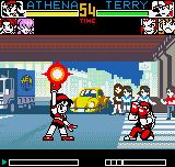 King of Fighters R-2 Neo Geo Pocket Color Cautious, Terry has armed the defensive, waiting the best moment to block Athena's Crystal Shoot.