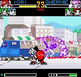 King of Fighters R-2 Neo Geo Pocket Color Iori founds a good moment to knock off Shermie with his new burning move: the 311 Shiki: Tsumagushi.