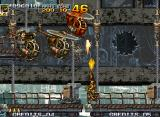 Metal Slug 5 Neo Geo Transported by some elevators, Eri must eliminate a little row of choppers (and free a hostage too).