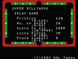 Super Billiards MSX Play Select and Options screen