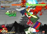 Samurai Shodown IV: Amakusa's Revenge Neo Geo Into the air, Genjuro does his POW Special Ura Gokou (the Hanafuda cards are a coolest detail!).