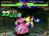 Samurai Shodown IV: Amakusa's Revenge Neo Geo Amakusa using her pimp-slapping move KairetsuSho to slash a fast-superb 22-hit combo in Rimururu.