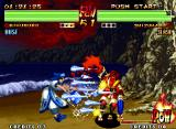 Samurai Shodown IV: Amakusa's Revenge Neo Geo Shizumaru struck by a successive wave of icicles made by Rimururu's move Upun Opu.