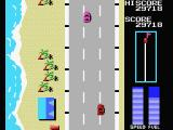 Road Fighter MSX Purple cars change lanes. So be careful!