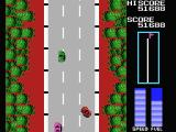 Road Fighter MSX You slide off the road. Use your brakes.