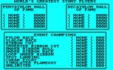 Acrojet Amstrad CPC The high score table and event overview
