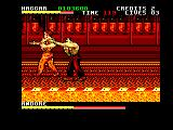 Final Fight Amstrad CPC Haggar grabs Andore by the arm