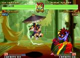 Samurai Shodown IV: Amakusa's Revenge Neo Geo Using his umbrella to float in the air, Shizumaru is planning the next move to strike back at Amakusa.
