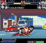 King of Fighters R-2 Neo Geo Pocket Color Iori stops successfully Saisyu's counter-attack using the body attack command.