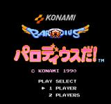 Parodius NES Parodius Da title screen.