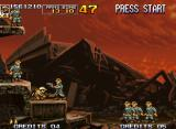 Metal Slug 5 Neo Geo Surrounded by a massive troop of lieutenants, Fio quickly ducks to escape from a future gun shot.