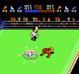 Ring King NES He' down. The referee is counting down.