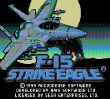 F-15 Strike Eagle Game Gear Title screen