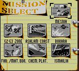 F-15 Strike Eagle Game Gear Mission selection