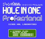 Hole in One Professional NES Play Select screen