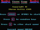 Fruity Frank MSX Key and Speed Select screen.