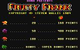 Fruity Frank Amstrad CPC Title screen