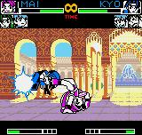 King of Fighters R-2 Neo Geo Pocket Color Kyo being grabbed by Mai's accurate feet-based throw move.