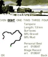 Colin McRae Rally 2005 N-Gage Stage select shows statistics and track info