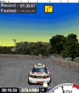Colin McRae Rally 2005 N-Gage Co-driver's notes shown at the top of the screen