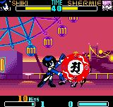 SNK Gals Fighters Neo Geo Pocket Color Shiki connects a accurate set of 10-hit combo in Shermie with her mystical move Shika Psycho Ball.