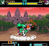 SNK Gals Fighters Neo Geo Pocket Color Leona Heidern making a bitten 3-hit combo in Mai through a bloody version of her DM Grateful Dead.
