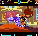 "SNK Gals Fighters Neo Geo Pocket Color Akari Ichijyou burning in purple flames during Miss ""Iori"" X's anti-air move 100 Shiki: Oni Yaki."