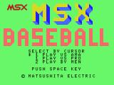 MSX Baseball MSX Title screen