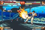 The King of Fighters EX2: Howling Blood Game Boy Advance Kim Kaphwan's air jump being successfully intercepted by Terry Bogard's Power Dunk move.