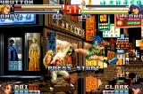 The King of Fighters EX2: Howling Blood Game Boy Advance Demonstration mode match with Leona connecting a hit of her ground kick in Andy Bogard's chest.