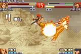 The King of Fighters EX2: Howling Blood Game Boy Advance Reiji uses his DM Meteor Great Wolf Kick to mark some air stomp-flaming hits on Ralf during a jump.
