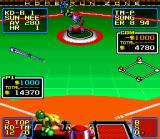 Super Baseball 2020 SNES The ball is flying off to the right, probably a foul ball.
