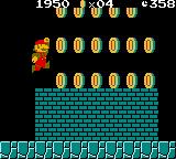 Super Mario Bros. Deluxe Game Boy Color Mario collecting lots of coins in a hidden underground depth.