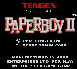 Paperboy 2 Game Gear Title screen