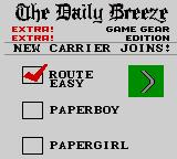 Paperboy 2 Game Gear Chosing player and route