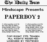 Paperboy 2 Game Boy Title screen.