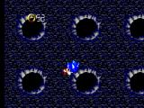 Sonic Blast SEGA Master System Sonic is sucked between the craters in the wall