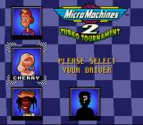 Micro Machines 2: Turbo Tournament SNES Selecting one of the many drivers available