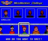 Micro Machines SNES Choosing your driver/opponents