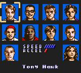 Tony Hawk's Pro Skater Game Boy Color Choosing a pro skater.