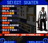Tony Hawk's Pro Skater 3 Game Boy Color Skater selection.