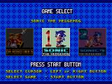 Sonic Classics Genesis Game selection screen