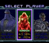 The Ninja Warriors SNES Selecting a character.
