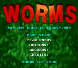 Worms SNES Main menu