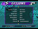 FIFA Soccer 95 Genesis Part of options screen