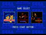 Game selection screen