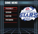 The F.A. Premier League Stars 2001  Game Boy Color Main Menu